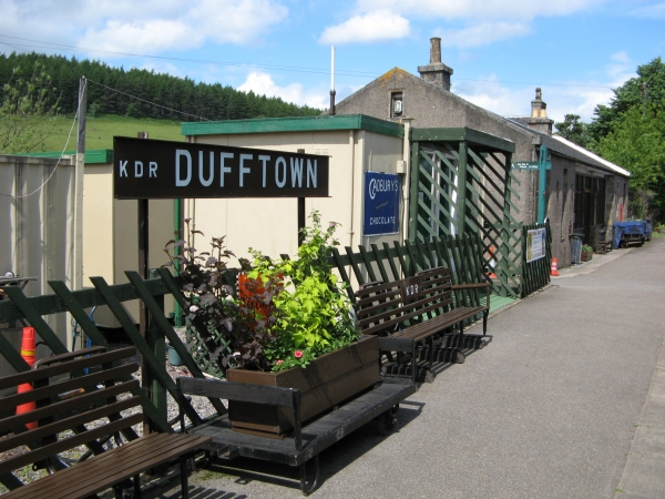 The lovely Dufftown station where your dining carriage awaits.