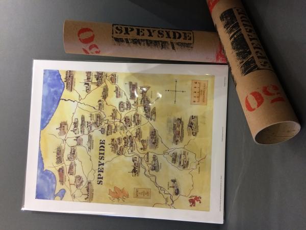 Signed artist quality print of 50 Speyside Distilleries