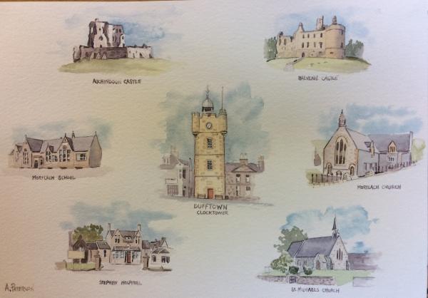 Dufftown Scenes. Original watercolour