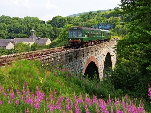 The Whisky Train crossing the Glenfiddich Viaduct